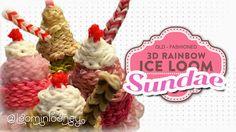 TUTORIAL/RECIPE: LOOM SUNDAE - 3D RAINBOW LOOM ICE LOOM SERIES Loom Bands, Loom Band Charms, Rainbow Loom Tutorials, Rainbow Loom Creations, Rainbow Loom Charms, Rainbow Loom Bracelets, Rainbow Loom Characters, Crafts To Do, Arts And Crafts