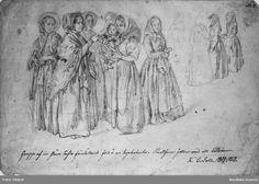 """""""Prestfrun jollrar med ett bondbarn"""" av Kilian Zoll, 1852. Nordiska Museet, nr. NMA.0062723"""