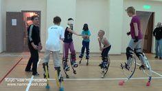 training on jumping stilts Air Trekkers, Jumping Stilts, Outdoor Life, Basketball Court, Boat, Weight Loss, Training, Sports, Robotics