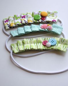 Pleated headbands - great way to use up scraps you have & such a lovely idea for a little girl!