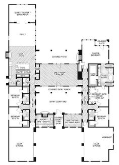 Southwest house plans at dream home source southwestern Hacienda floor plans with courtyard