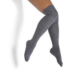 Steve Madden Women's L-Islndotk Boots Socks Handbag ($12) ❤ liked on Polyvore featuring intimates, hosiery, socks, charcoal, cable socks, cable knit socks, ribbed socks, over the knee cable knit socks and steve madden