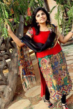 Bright red Saree Painting, Fabric Painting, Anarkali Tops, Kalamkari Saree, Punjabi Dress, Cotton Textile, Blue Saree, Vogue India, Floor Length Dresses