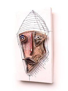 3D wall art,Ceramic Face, Mixed Media wall mask, Original mask #Artmosfair