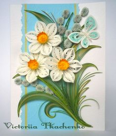 Spring Quilling Card - quilled card - Daffodil flowers: