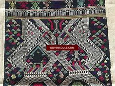 Fine Antiques & Art from WOVENSOULS - Singapore 5005 Vintage Laotian Textile with Human Figure - RARE BEAUTIFUL TRADITIONAL LAOTIAN WEAVING.Estimated to be from the 1950s - 1970sCreated for self-use and not for the commercial market. The human figure seen in this weaving is rare. This motif represents ancestors and is a symbol of protection. Dark Cotton base for the weaving. Attached to beautiful white hand-spun cotton / handwoven panel borders. Minor dye run. 77cm x 140cm * #Asian #art…