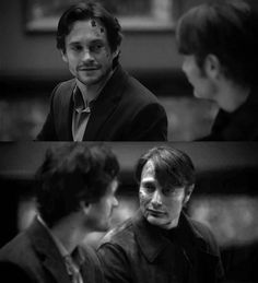 Will looking at Hannibal for the first time since Mizumono, and Hannibal looking at Will for the first time since Mizumono. Black and white. Hannibal Series, Hannibal Lecter, Kili Hobbit, The Hobbit, Hannibal Wallpaper, Will Graham Hannibal, Hugh Dancy, Mads Mikkelsen, My Soulmate