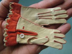 Antique Miniature French Leather Suede Gloves Accessory For Bisque Fashion Doll, sold via eBay 10/2013  $284.00