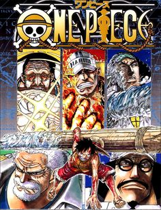 Tags: ONE PIECE, Scan, Manga Cover, Monkey D. Luffy, Oda Eiichirou, Monkey D. Garp, Marine (ONE PIECE), Straw Hat Pirates, Kuzan (ONE PIECE), Official Art, Borsalino (ONE PIECE), Sakazuki (ONE PIECE), Sengoku (ONE PIECE)