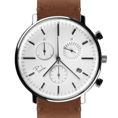 C200-E Chronograph (polished/tan) watch by Paulin. Available at Dezeen Watch Store: www.dezeenwatchstore.com