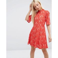 ASOS Kimono Sleeve Mini Skater Dress in Red Lace ($65) ❤ liked on Polyvore featuring dresses, red, high neck lace dress, kimono-sleeve dress, lace sleeve dress, lace fit and flare dress and long-sleeve skater dresses