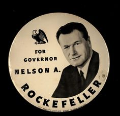 Oversized pin, Nelson A. Rockefeller for Governor (New York), circa 1958: Political Buttons Collections (B), (credit: Special Collections and University Archives, Stony Brook University).