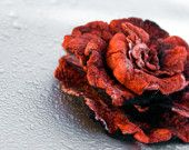 DISCOUNT -15 PERCENT Red and Black  rose brooch from wool and silk