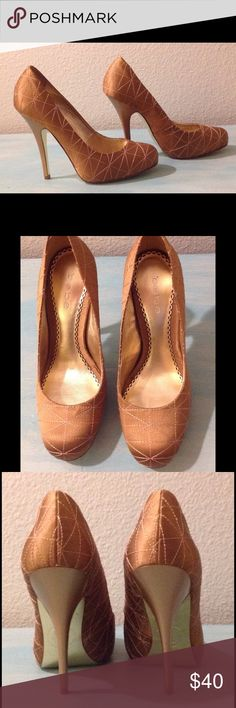 """Bebe Taupe Satin Platform Stiletto Heels Beautiful platform heels that can be dressed up or down. Never worn. New without box. 4.5"""" heel with hidden .5"""" platform. Very comfortable. bebe Shoes Heels"""