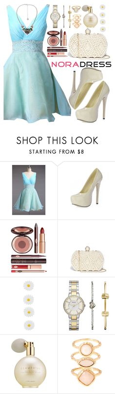 """Nora Dress"" by oshint ❤ liked on Polyvore featuring Charlotte Tilbury, GUESS by Marciano, Accessorize, FOSSIL, Estée Lauder, Monsoon, BEA and noradress"