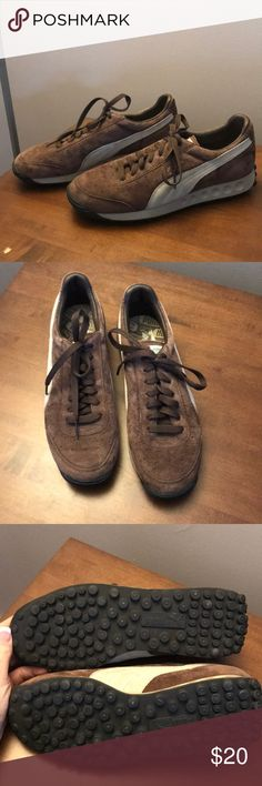 Women's 8.5 brown suede Pumas Never worn outside!  Worked retail and these were worn in store only. Excellent condition. Chocolate brown with tan details. Puma Shoes Sneakers
