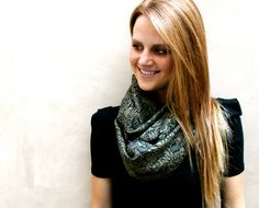 Patterned Scarf, Infinity Scarf, Circle Scarf, Olive Green, Black. $30.00, via Etsy.