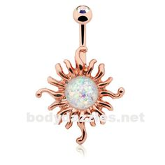 Rose Gold Opal Sun Illuminating Belly Button Ring 14ga Navel Ring Body Jewelry