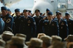 A formation presents Brig. Gen. Jon Thomas with a final salute during the 86th Airlift Wing's change-of-command ceremony at Ramstein Air Base, Germany, on Wednesday, Aug. 17, 2016. (Michael Keller/Stars and Stripes)
