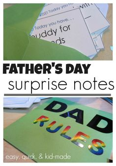 quick, easy father's day surprise notes: kid-made and dad-approved   free printable for last-minute gift dad will LOVE