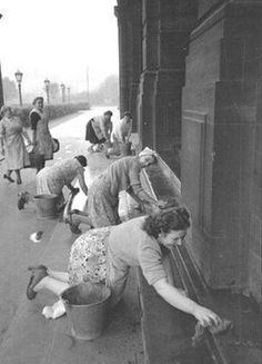 1953, Charwomen cleaning Glasgow Town Hall Steps