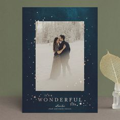 """""""starry wonder"""" - Foil-pressed Holiday Cards in Snow by Phrosne Ras. Christmas Photo Card Template, Merry Christmas Card, Holiday Photo Cards, Xmas Cards, All Holidays, Christmas Holidays, Christmas Decorations, Foil Stamping, Stationery Design"""