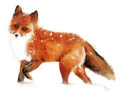 Renard roux - Archives copie de peinture à l'aquarelle. Impression d'art. La nature ou Illustration d'animaux. Rouille et Orange.