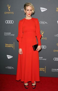 Sarah Paulson in Bella Freud attends the Television Academy Reception Honoring The Emmy Award Performer Nominees. Trident, Red Frock, Bella Freud, Jean Baptiste, L'oréal Paris, Party Looks, Red Carpet Looks, Red Carpet Fashion, Lady In Red