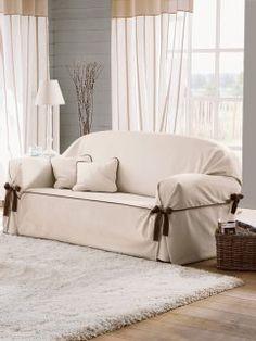 Funda de sofá de loneta con lazos a contraste Beret                                                                                                                                                                                 Más