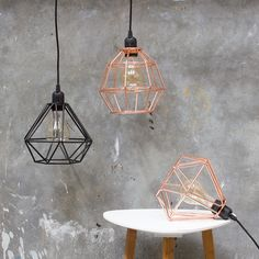 Lamps in cobber and black by Sostrene Grene