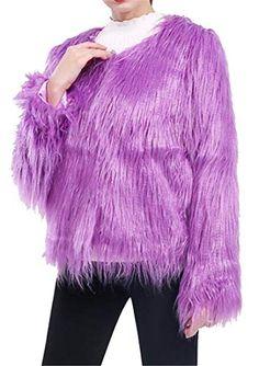 d3f081fb57f8 Womens Fuzzy Solid Color Slim Winter Warm Faux Fur Coat Jacket Outerwear