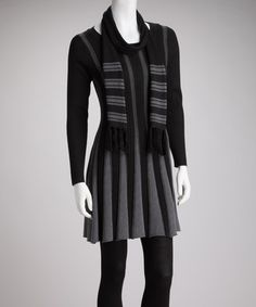 Take a look at this Black & Gray Stripe Sweater Tunic & Scarf by Young Threads on #zulily today!