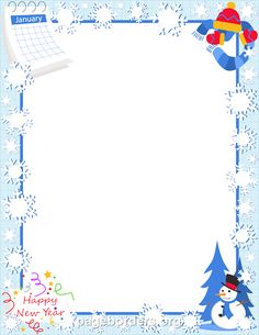 printable january border use the border in microsoft word or other programs for creating flyers