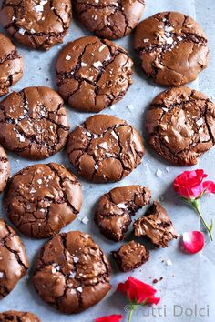 With shiny, crackled tops and rich, fudgy centers, these salted brownie cookies are the ultimate chocolate cookie for brownie and chocolate lovers.