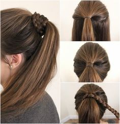 Easy Holiday Hairstyles: Braid Wrapped Pony Tutorial via @ABexchangeBlog. This hairstyle works well with everyday, holiday and evening looks. #HeartMyHair #ad #HeartMyHair #sweeps