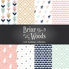 Briar Woods Woodland Collection Crib Bedding Set - Mint/Navy/Pink/Honey Select your bedding set option from the drop down list. Message me with