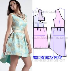 VESTIDO DECOTE RAINHA -268 - Moldes Moda por Medida