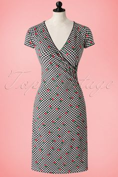 King Louie 50s Marie Checked Cross Dress in Black