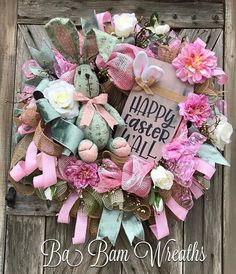 Easter Floral Wreath, Spring Wreath, Spring Decor, Spring Door, Bunny Wreath, Bunny Swag, Bunny Decor, Easter Wreath, Easter Swag, Easter Decor Gorgeous Soft Pinks & Green make for a Stunning Easter Masterpiece! Dainty florals, roses in bloom, an assortment of lush greens and designer