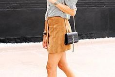 A Stylish Suede Button-Front Skirt Look To Try Now