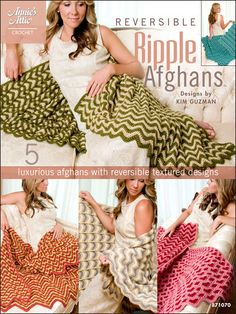 Stitch these reversible afghans with a regular crochet hook!   You can create these five lovely afghans that maintain the look of the ever-loved traditional ripple on one side, while updating it on the other by creating interesting patterns, shapes a...