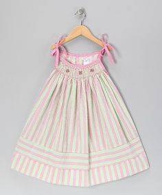 Pink Stripe Butterfly Seersucker Swing Dress - Toddler