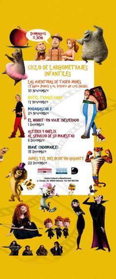 La Beneficència proyectará cine para los más pequeños cada domingo. Madagascar 3, Brave, Movie Posters, Movies, Adventure, Domingo, Projects, November, Films