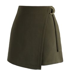 Chicwish Preppy Chic Flap Skirt in Army Green (125 BRL) ❤ liked on Polyvore featuring skirts, green, green skirt, olive green skirt, army green skirt, asymmetrical skirts and olive skirt