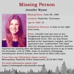 Jennifer from in Her driver's license was later found on Blue Lake Lane. Missing Child, Missing Persons, Have You Seen, Did You Know, Amber Alert, Driver's License, Bring Them Home, Lds Mormon, Criminology