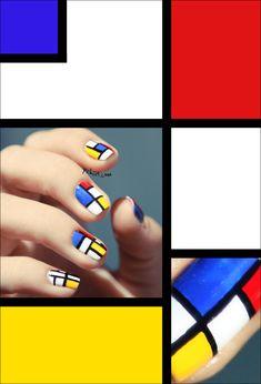 #Thesundaynailbattle // Mosaic'Nails inspiration Mondrian