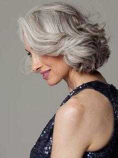 grey hair young woman