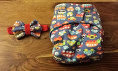 Handmade 'Beep Beep, Toot Toot' Birth to Potty Pocket Nappy with Matching Bow Tie.