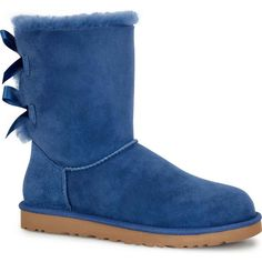 UGG Australia Women's Bailey Bow Blue Jay Boots ($205) ❤ liked on Polyvore featuring shoes, boots, ankle boots, blue, short boots, ugg australia boots, bow boots, light weight shoes y bootie boots