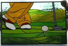 Tee Off - This is a stain glass for my husband's office . 30 x24 this one is not for sale but I can always make another one.